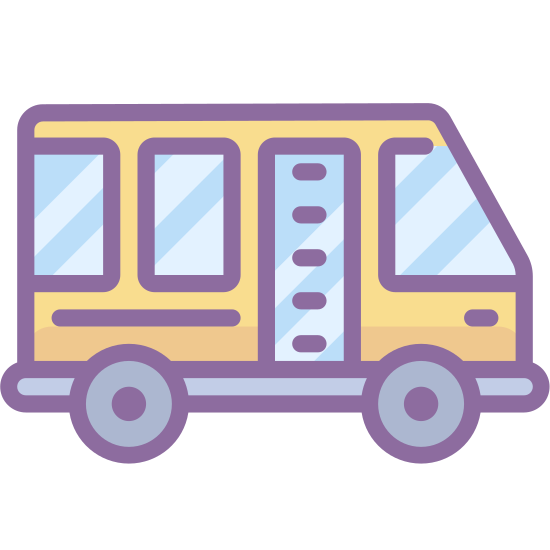 Autobus transferowy icon. It is an icon of a shuttle that looks like a bus. It has two round tires on the bottom and three square windows near the top. The shuttle is facing right.
