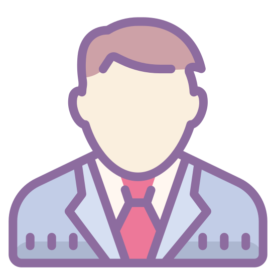 Businessman icon. The logo is a black and white line drawling of a man, from the chest up to the head. The man is wearing a suit and tie which suggest he is a businessman.