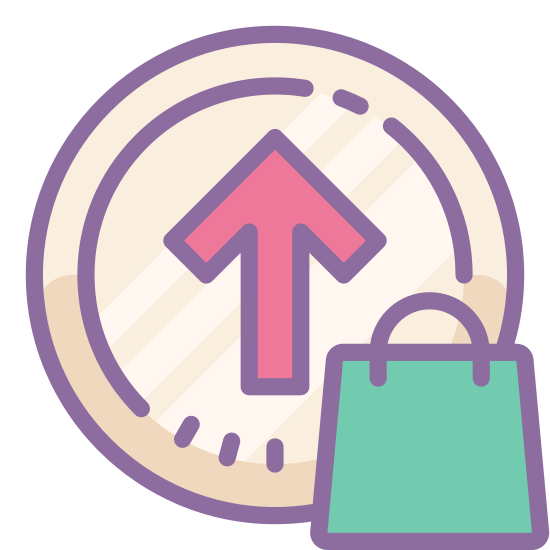 """Buy Upgrade icon. This icon for """"buy upgrade"""" is depicted as a large circle. Inside of the circle, at its very center. is an arrow that points upward. Around the inner edge of the circle is a series of small dots that run along the entire interior of the circle."""