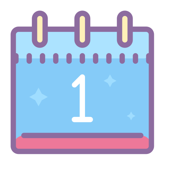Kalendarz 1 icon. It's a square with two ring-like objects attached to the top, to indicate that this is a calendar that would flip to change the date each day. Inside the square is the number 1, to signify the 1st day of the month.
