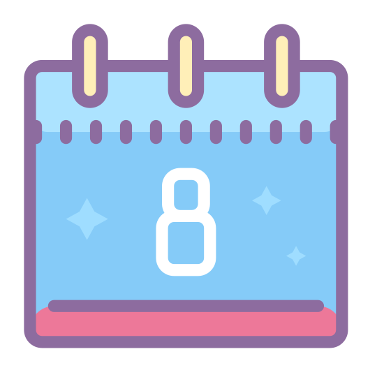 Календарь 8 icon. This icon represents a calendar 8. It is a square shape with the number 8 in the middle. A section is lined off at the top, separating it from the larger bottom portion, with two lines, one on each side.