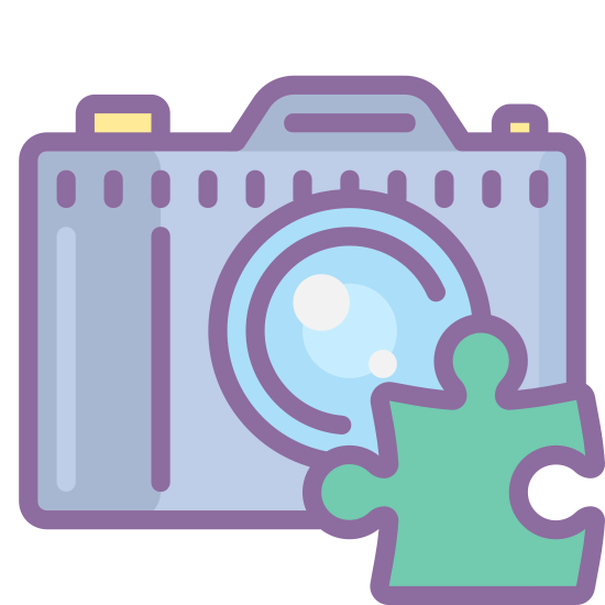 Dodatek aparatu icon. A camera addon icon is represented with two icons. One icon is a camera the camera will have a rectangular shape with a circle in the center of the camera for the lens. The second icon with it is a piece of puzzle piece.