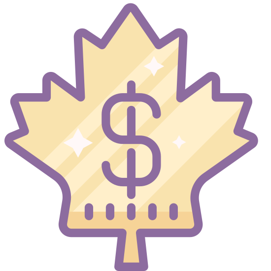Canadian Dollar icon. A Canadian dollar icon is a maple leaf with a dollar sign in the center. A maple leave consists of many zigzag edges, but a flat bottom with a stem attached. The dollar symbol is a S but on the top and bottom of the S, there is a little line attached to it.