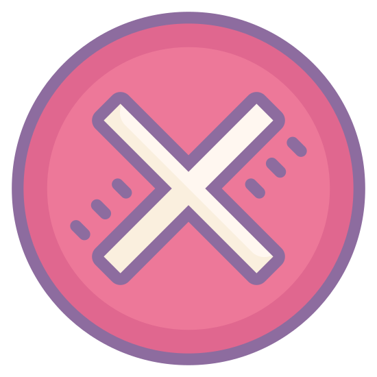 Stornieren icon. The icon is a common symbol for expressing denial of permission. It consists of a circle with a large X in the center of it, symbolizing the cancellation of an already-running action.