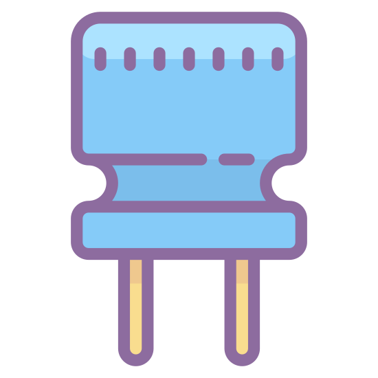 Capacitor icon. This icon has a square and all four corners of the square are rounded off. Underneath the square are two long parallel, vertical lines that are almost the same length of the square.