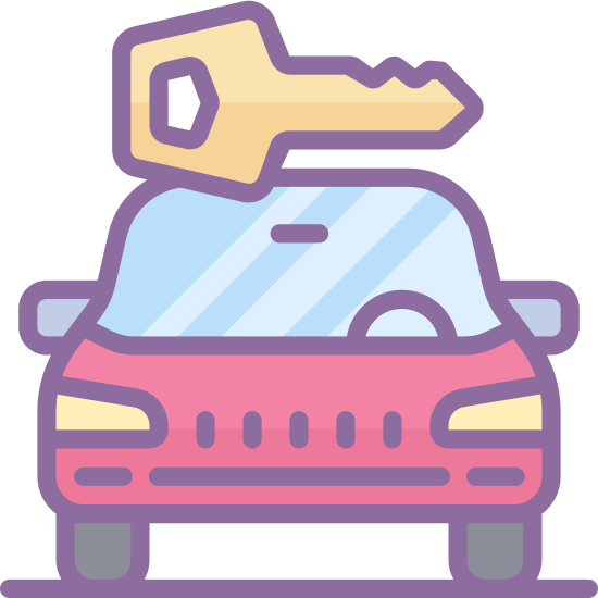 Noleggio auto icon. The image is of a car. The front part of the car is shown. Directly above the car is a key. The length of the key is almost the width of the car. The two items are not touching each other.