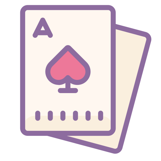 Karty icon. This icon depicts two playing cards, one on top of the other, with the one underneath at a slight angle. Both cards are aces, and the one on top's suit is spades. The bottom card's suit is not visible because the top card is covering it.