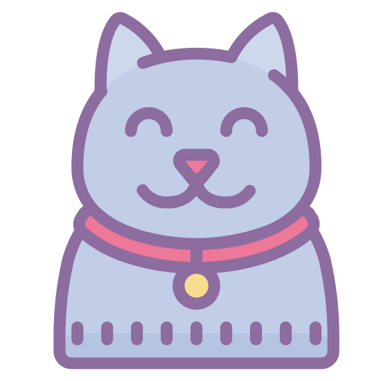 Cat icon. This is a picture of a cat with three legs. It's face is pointed towards you and you can only see it's two eyes, but no mouth or nose. It's ears are pointed upwards, and it's tail is slanted on top of it's body. The legs are very long.