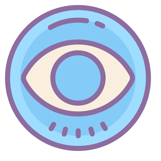 CBS logo icon. This is a picture of the CBS logo, with a circle that has an eye at it's center. the eye is wide open and you can see the pupil. the eye is slanted on it's left and right side