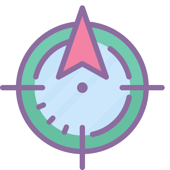 Hunt icon. There's a circle with lines notched at the top, bottom, left and right. In the middle is another circle that's filled in. As a whole it looks similar to a target.