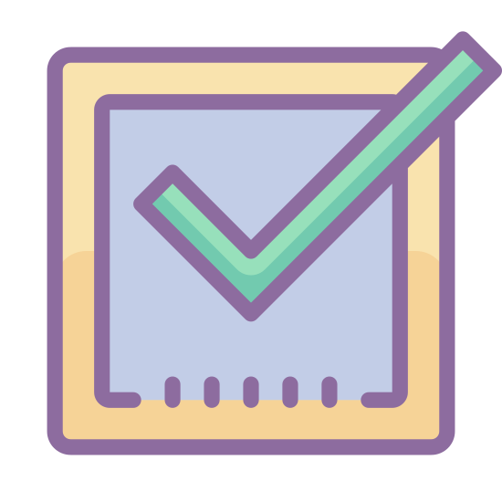 Tick Box icon. This is a checkmark inside of a square with rounded corners. The square has four normal sides and three normal corners, but the top-right corner is open. The checkmark's tail would meet the top right corner if the square was complete.