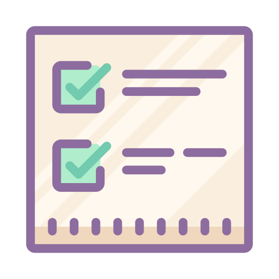 Lista kontrolna icon. This particular icon has three square boxes that are positioned on top of each other.  On the side of the boxes are long lines. There are two checkmarks in the first two boxes at the top.