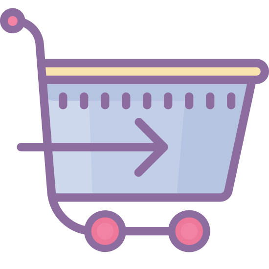Do kasy icon. The icon is a shopping cart that one might push in the supermarket. There is a handle, basket, under carriage and two-wheels under neath it. Within the basket is an arrow pointing to the right.
