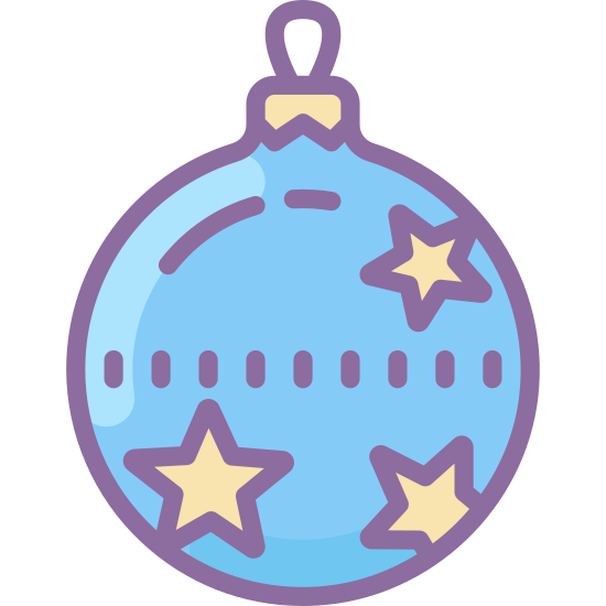 Christmas Ball icon. This is a Christmas tree ornament. It is circular in shape and has 3 five pointed stars on it.