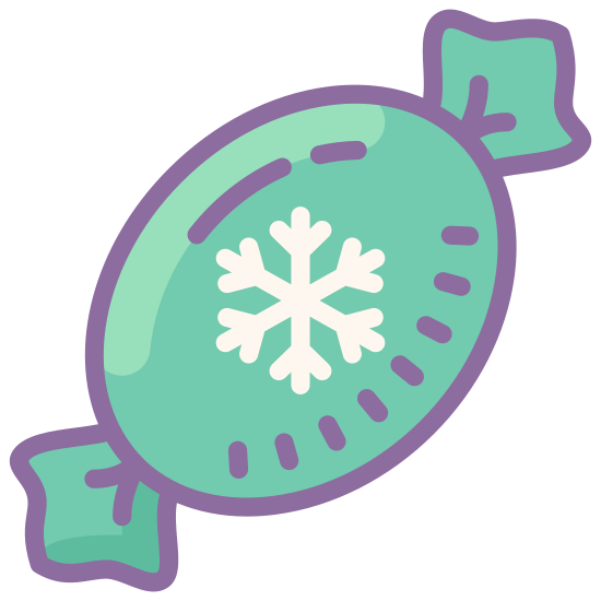 Christmas Candy icon. This particular icon has an oval shape that is positioned diagonally.  It has a black shape that resembles a snowflake.  It also has two half-star shapes at the ends of of the oval that look like the ends of a candy wrapper.