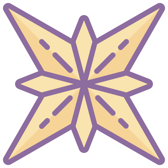 Gwiazdka bożonarodzeniowa icon. It's an icon that has five points.  The dark sky is filled with them.  It flicker and sparks  of lightning breaking through it.  It is a celestial body that generates light and other energy.