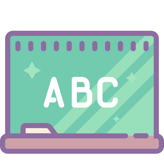 Class icon. This is an icon representing a class. There is a rectangular chalkboard with a line graph that is increasing. There is a chalkboard eraser and a wide rectangular base underneath.