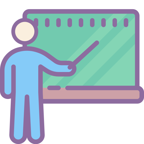 Klasa icon. This icon represents a classroom and shows a teacher with its students. There is a chalkboard with an eraser and four students. The teacher is writing something on the board.