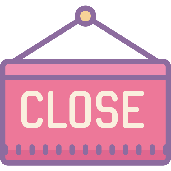 "Close Sign icon. The image is a rectangle, with two lines stretching from its top, that join to form a triangle. Inside of the rectangle, is the word ""close"", spelled with each letter capitalized."