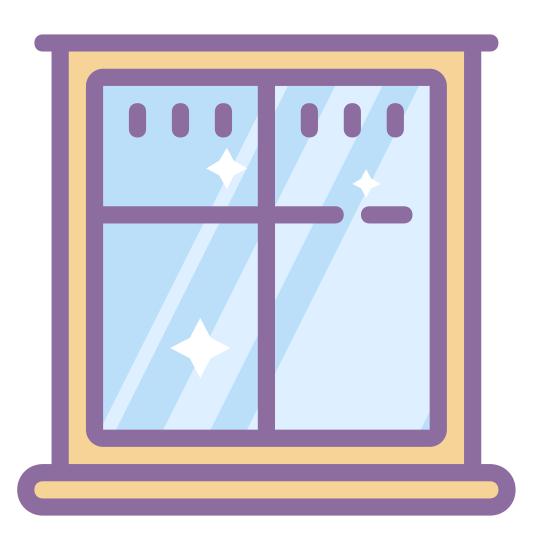 Zamknięte okno icon. This icon is depicting a window. The object is rectangular shaped with sharp corners and is bordered. There is a clear 'T' shape in the center of the window to distinguish the individual panes of glass.