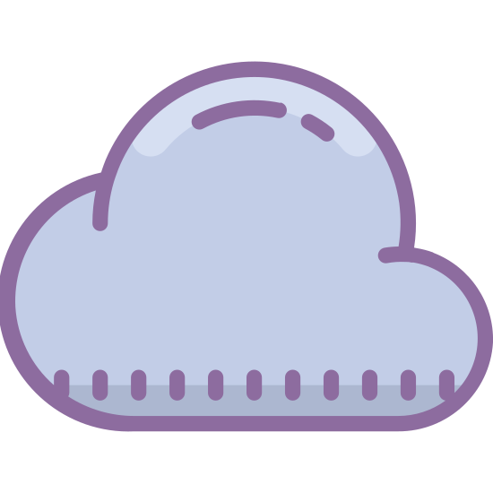 Chmura icon. This is a very simple icon that looks just like a cloud. The bottom is flat, but the top is rounded and billowy. It looks just like the back of a sheep. It's easy to see how someone might use this to represent the shape of a cloud.