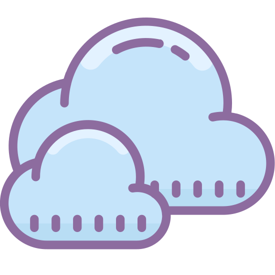 Chmury icon. It is a very simplified looking cloud. It is composed of the intersection of three circles and a rectangle, forming a shape not unlike a lumpy cumulus cloud.