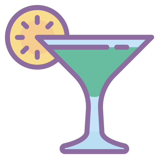 カクテル icon. This is an icon for a cocktail. The part where you pour the drink it is an upside down triangle with a circle attached to its left side. There is a straight line which attaches to a flattened triangle on the bottom