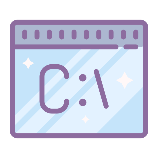 Command Line icon. This is a command line symbol from the Microsoft Windows Operating system. There is a rectangle with a line horizontally through the top to create a header look. Inside the rectangle is the letter C followed by a semi colon and then a forward slash.