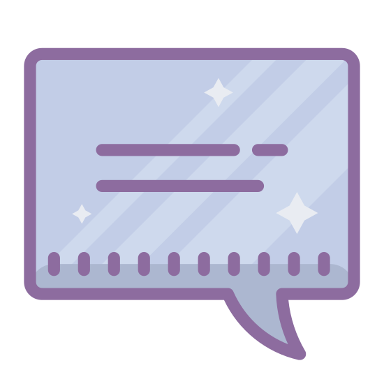 Bemerkungen icon. This is a speech bubble in the shape of a rounded rectangle. There is a small curved point sticking out of the bottom of the bubble and coming from the left.