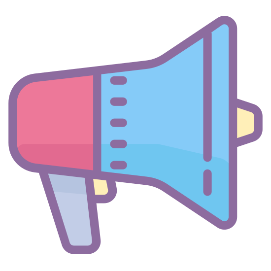 Publicidade icon. This is a megaphone. There is a handle on the megaphone on the left hand side and a large cone or funnel shape on the right hand side. There is a small half circle protruding from the flat part of the cone of the megaphone.