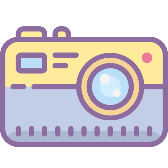 Compact Camera icon. The icon shows a hand-held picture camera with large round lens and a flash in the upper corner. The camera is rectangular with a raised portion above the lens where a viewing port would be.