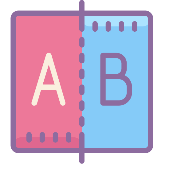 Compare icon. This icon shows two pieces of paper dog-eared on the top right corner, and slightly overlapping each other. The leftmost page is in the forefront and features an arrow pointing to the right. The page in the background has an arrow facing to the left.