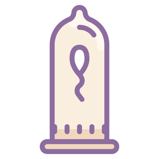 Condom Used icon. This is a logo drawn in an outline shape of a condom, it shows the band at the bottom and the nipple at the top. Inside of that is a simple drawing of a single sperm, it has a squiggly line as a tail and an oblong head.