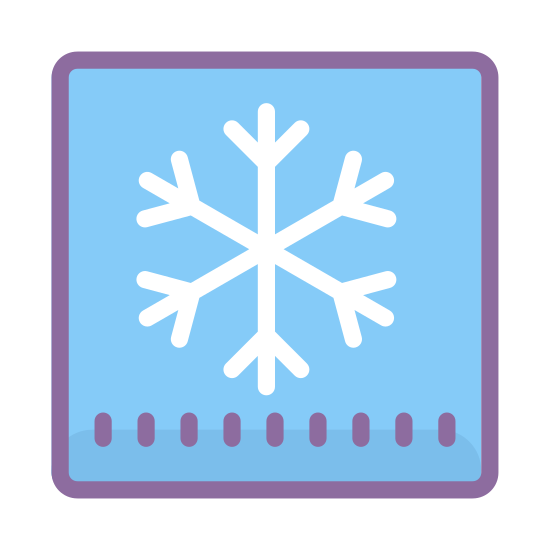 Cooling icon. There is a slightly rounded rectangular shape. In the middle of the rectangle shape there is a single 6 pointed snowflake, aside from the snowflake the rectangle lacks any other details.