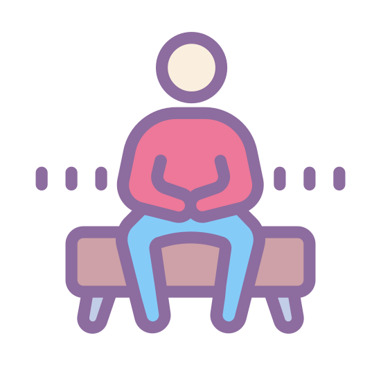 Berater icon. This icon has a figure of an outlined person that is sitting on top of a rectangular bench.  the figure is sitting with its hands crossed over each other.  The circle that represents the head has no dots or lines that resemble features.