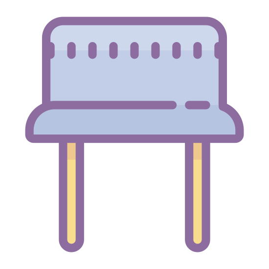 Oscillator icon. There is a rectangular shape with rounded corners, and inside the top of it there is a long oval that has five small lines spread evenly inside. At the bottom in the middle of the rectangle underneath it, there are two parallel lines that are just as long as the rectangle.