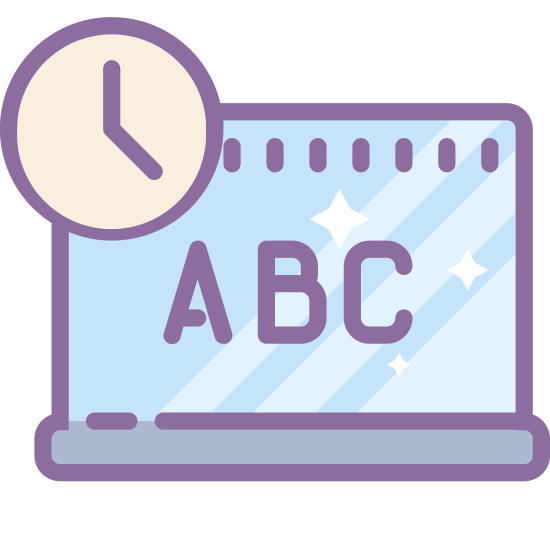 Curriculum icon. The symbol for curriculum, a blank blackboard with a clock near the top lefct side. Chalk sits unattended on the holder under the board, and we see from the clock that it is 4 o'clock.