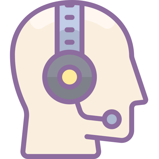 Customer Support icon. This is a image of the profile of a human head.  The head itself has no features and is just an outline.  On top of the head is a headphone shape with a mouthpiece.