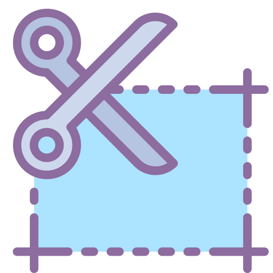 Coupon icon. There is a horizontal rectangle made out of dotted lines. In the upper left corner of the rectangle is a large pair of scissors cutting the top line.