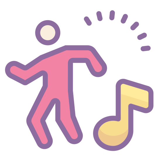 Dancing icon. An icon of dancing consists of a man or woman standing up and his or her legs and arms are moving around. The icon will also have a music note next to the person to show that music is being played and the person is dancing to it.