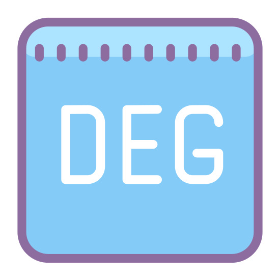 """Deg icon. This is a picture of a box or page that has rounded corners. in the center of the box are the letters """"DEG"""" in a horizontal direction. they are all capital letters."""