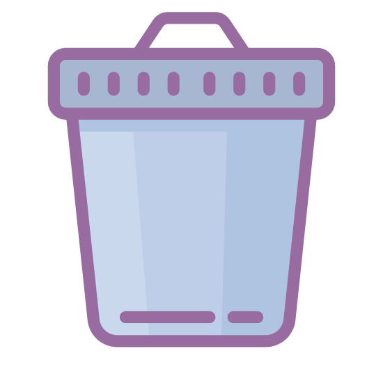 Trash Can icon. The icon shows an old style round metal trash can with closed metal lid on top. The icon would be seen on a computer or device as a place to delete items from the system.