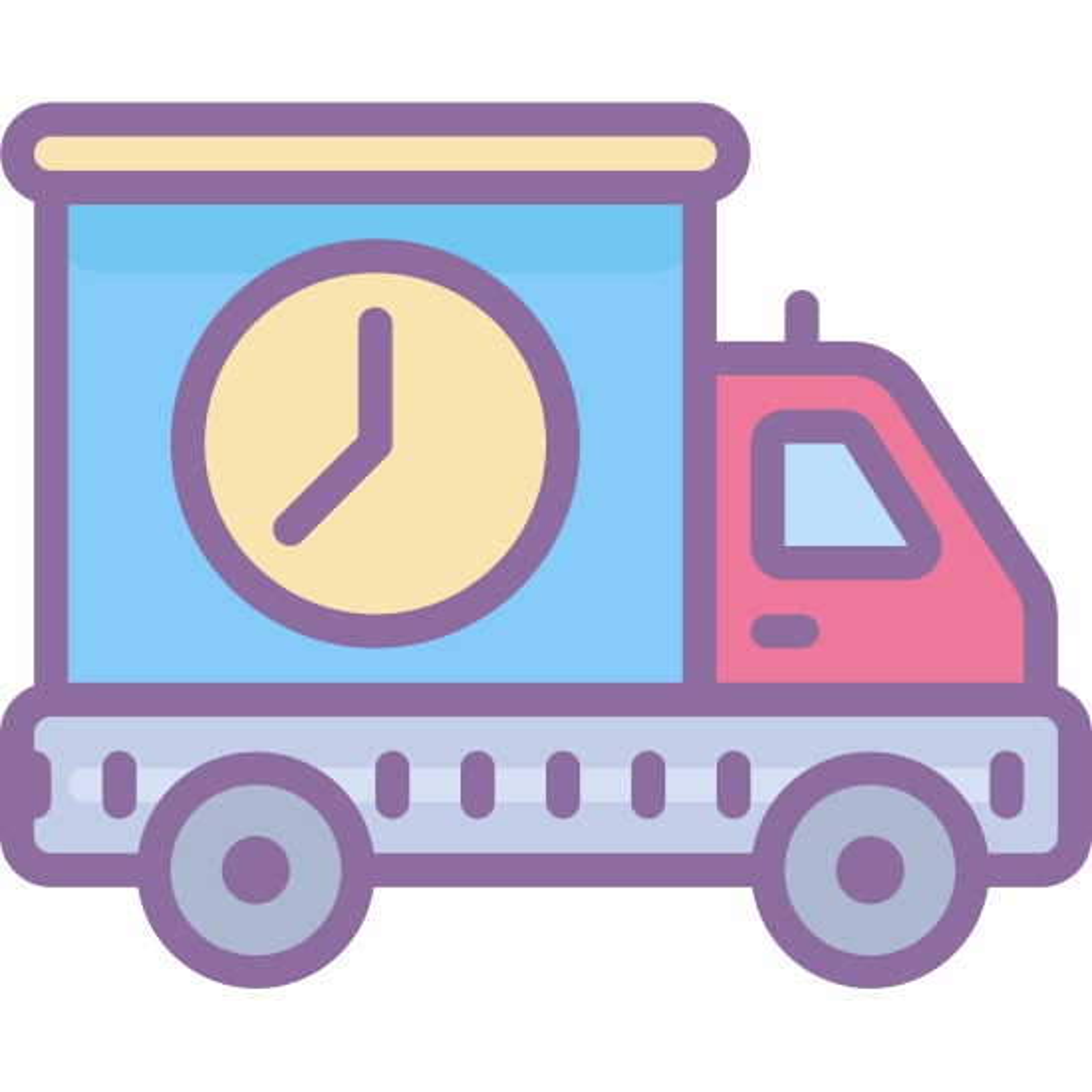 运输 icon. A basic outline of a delivery type truck that has the symbol of a clock at the top back corner. The symbol may represent delivery time information for the delivery truck.