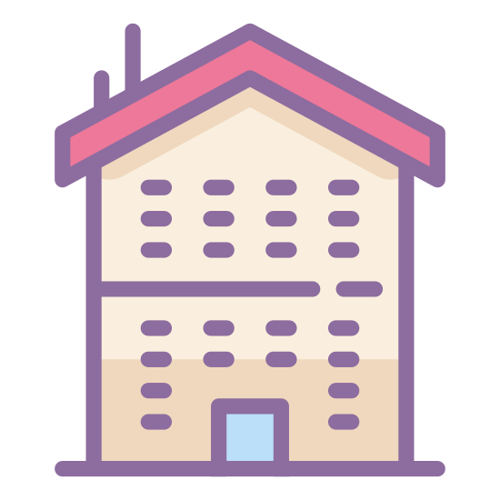 Department icon. The shape is mostly square except for the top where it's slanted like a triangular roof. It has a lot of square windows, with three windows on the left, two in the middle with a door underneath, and three windows on the right.