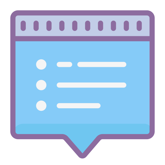 Popup icon. The image is a square that looks like a sheet of paper. There are four dashes in a vertical line on the left. To the right of the dashes are four vertical lines. There is one line to each dash. The lines and dashes are on the sheet. At the bottom of the sheet the edge comes to a point.
