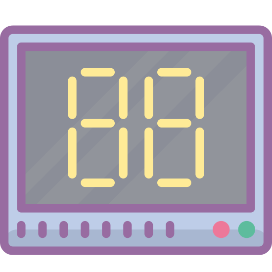 "Display icon. It's a logo of the number ""88"". It is placed within a square and the numbers are displayed in digital format."