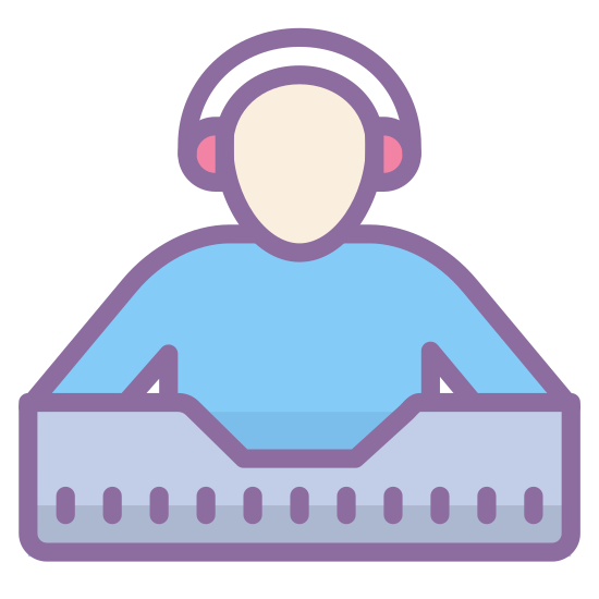 DJ icon. A DJ icon is shown with a person that is the DJ and will have music equipment. The person will have headphones on, and also in front of the DJ there must be a mixer to make the music.