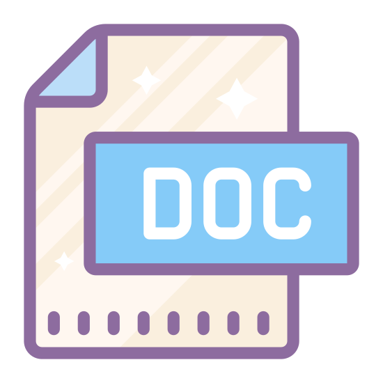 DOC icon. It's a logo for a document called DOC. It has a piece of paper with the top-right corner folded over. It has the word DOC written on the center of the piece of paper.