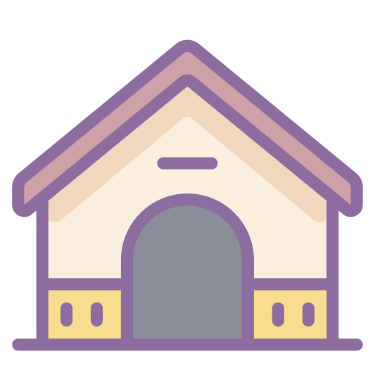 Dog House icon. This is a small square house with a triangular roof. The front has a small opening where a dog is able to come and go. This Windows 8 icon is considered a house made for a dog.