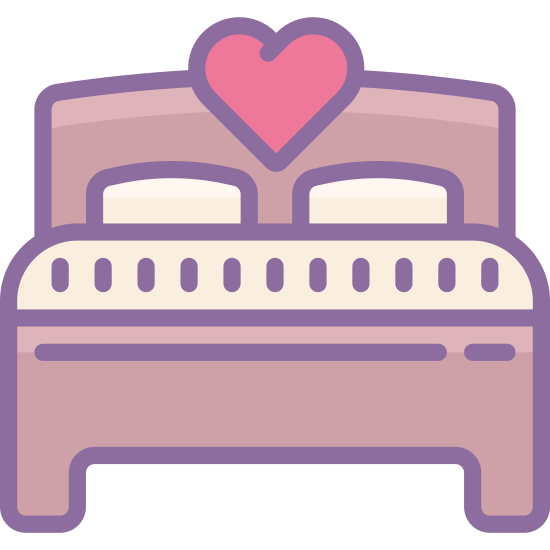 Двуспальная кровать icon. This is an image of a double bed.  The outline of the bed is drawn.   The bed has enough room for two people and has two pillows along with a hear-shaped engraving on the head board.